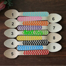 20x, 9 Colors Chevron Disposable Wooden Spoon, Party Utensils,140mm=5.51inch