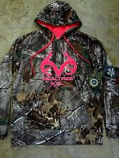 NWT Realtree Xtra Womens Camo Pullover Hoodie Coat Pink Accent Wicking S M L XL