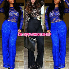 Fashion Sexy Lace  Women Long Sleeve  Bodycon Jumpsuits&Rompers Party Clubwear