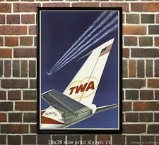 TWA StarStream Jets - Vintage Airline Travel Poster (reproduction)