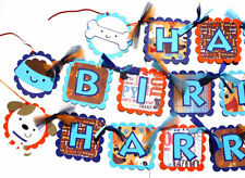 Puppy Party Themed Happy Birthday Banner in Navy Turquoise and Orange