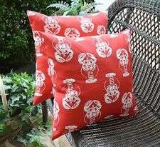 2 Pack ~ Red White Lobster Decorative Indoor Outdoor Throw Toss Pillow Made USA