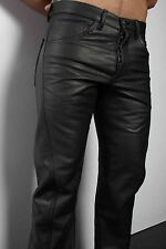 Original Black Leather Men's Classic Fit Pant Available In Buttons fly & Zip Fly