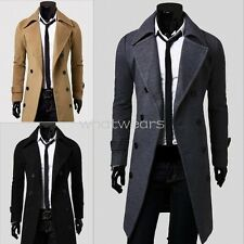 Stylish Mens Fashion Double-breasted Slim Fit Coats Long Jackets Suit W2114 FKS