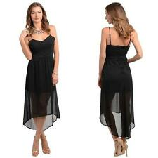 Black Strappy Summer Dress w Sheer High-Low Skirt & Button Detail Size 8-14 BNWT