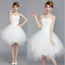 Wedding Dress Bride Short White Strapless Mesh Lace Princess Ball Gowns Lace Up