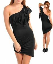 Sexy Black Ruffled Asymmetrical One Shoulder Mini Dress Size 6-12 NEW Stunning!