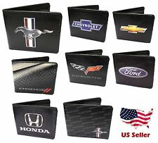 CAR BRAND LOGO WALLETS AUTHENTIC EXTRA SLIM LICENCED BIFOLD BUCKLE DOWN WALLETS
