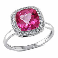 10k White Gold 1/10 CT Diamond & 3 4/5 CT Pink Topaz Fashion Ring