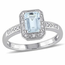 Sterling Silver Diamond And 1 CT TGW Aquamarine Fashion Ring I3