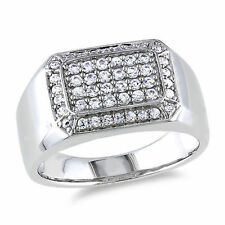 Sterling Silver 5/8 CT TGW Men's White Sapphire Pave Gemestone Ring