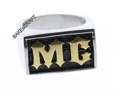 STAINLESS STEEL MC MOTORCYCLE CLUB BIKER MOTORCYCLE RING -2 TONE
