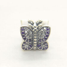 Sparkling Butterfly Purple CZ 925 Sterling silver Charm European style bead