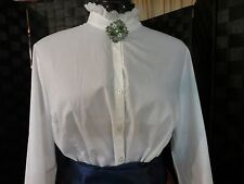 Civil War Victorian Pioneer Blouse Long Sleeve Lace Trim Ladies S-XL White