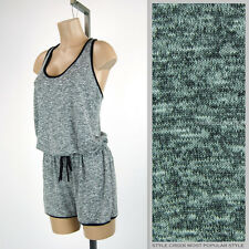 Grey Marled Knitted Drawstring Comfortable Sporty Sleeveless Romper Shorts S M L