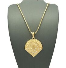 "NEW ICED OUT BLACK PYRAMID PENDANT &2mm/24"" BOX CHAIN HIP HOP NECKLACE MSP412BX"