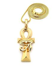 "Gold Egyptian Horus Eye Ankh Cross Pendant Charm 24"" Chain Necklace Jewelry"