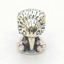New Zealand Kiwi Bird Charm 925 sterling silver With Pink Enamel Beads