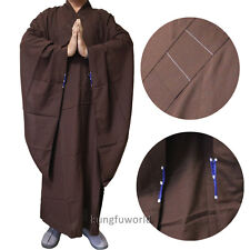 Top Quality Dark Brown Buddhist Robe Shaolin Kung fu Long Gown Meditating Suit