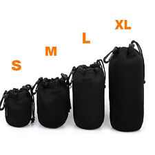 S/M/L/XL Neoprene Lens Pouch Case Bag Cover For Nikon Sony Canon DSLR Camera