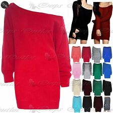 Womens Ladies Off The Shoulder Chunky Knit Oversized Tunic Sweater Jumper Dress
