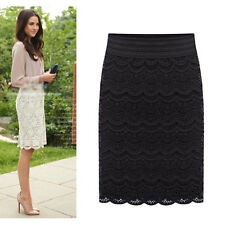 Women Fashion High Waist Bodycon Lace Pencil Skirt Knee Length Crochet Dress