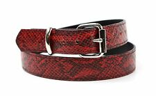 "Red Python Snake Embossed Vegan Leather Belt Removable Buckle 1.25"" Wide 29mm"