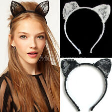 Fancy Dress Black Lace Cat Ears Headband Animal Party Costume Cosplay Hairband