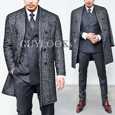 Designer Homme Urban Mens Double Breasted Quilting Wool Tweed Overcoat Guylook