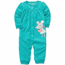 Carters Newborn 3 6 9 18 Months Mouse Coveralls Jumpsuit Baby Girl Teal Clothes