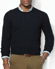 Polo Ralph Lauren 100% Cashmere Italian Navy Cable-knit Crew-neck Sweater $398
