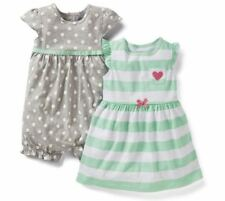 Carters 12 Months Dress & Romper Set Baby Girl Clothes Cotton Gray Green