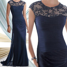 Crew neck Cap Sleeve Lace Appliques Mother of the Bride Dresses Formal Prom Gown