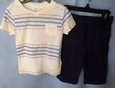 SPLENDID S/S Striped Off White Top with Solid Navy Pull On Pants  BOY SIZES NWT