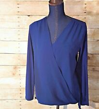 VINCE CAMUTO Draped Shirt Blouse Top-Faux Wrap Hi Lo-Blue Red-Womens S-XL-NEW-WT