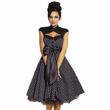 Rockabilly 50s Vintage Black Polka Dot Prom Party Dress + Shrug 10-20