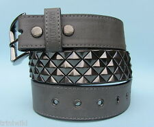 Grey 3 Row Diagonal Pyramind Stud Studded Snap on Belt