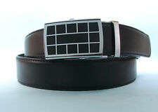 Mens Dress Black Real Leather Belt with Automatic Locking Buckle