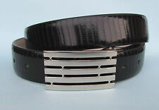 Mens Dress Gloss Black Real Leather Belt with Automatic Buckle