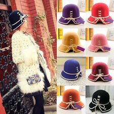 Women Special Strap Decor Floppy Cloche Bowler Wool Felt Cap Fedora Hat