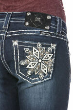 NEW MISS ME Snowflake Serenade Novelty Boot Cut Jeans MP7096B