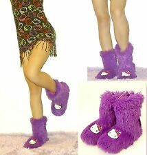 NWT Sanrio Hello Kitty Shag Boot Slippers for Women, 5/6, 7/8 Purple
