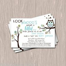 Custom  Blue Hooty Owl Baby Shower or Spinkle Invitation Card / Thank You