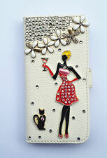 Bling Girl Wallet Card Holder PU Leather Flip Case Cover For Sony Phones