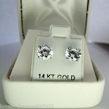 Huge 4 cts round cut stud Earrings Solid 14k white gold