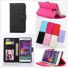 Lattice Card Slot Leather Wallet Soft Flip Stand Quilted Case For Samsung Galaxy