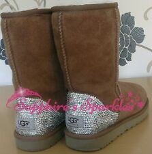 Adults Customised Crystal Chestnut Tan Beige Classic Ugg Boots Sizes 4 5 6 7 8