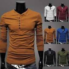 Men's Slim Fit stylish Single Breasted Long Sleeve Henley T-Shirt basic Tee CaF8