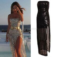 Sexy Women Formal Prom Long Dress Party Ball Gown Cocktail Evening Sequins Dress