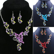 Perfect Butterfly Flower Rhinestone Pendant Necklace Earrings Jewelry Set
